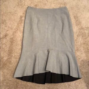 Grey pencil skirt with flare detail